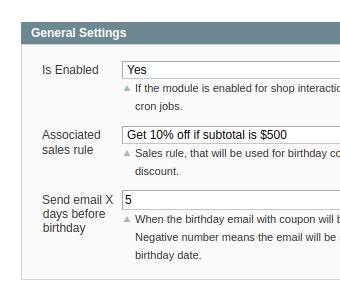 settings in birthday coupon extension