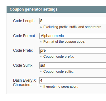 coupon generator settings