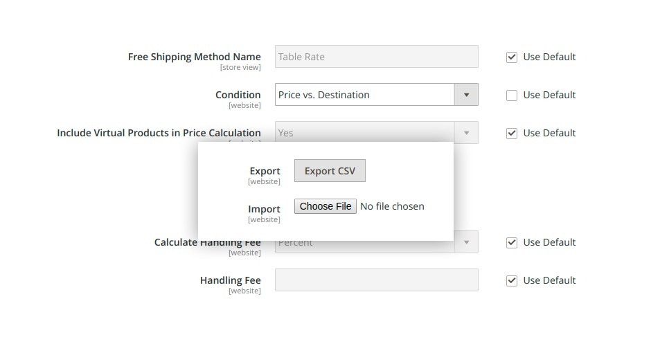 CSV files import and export