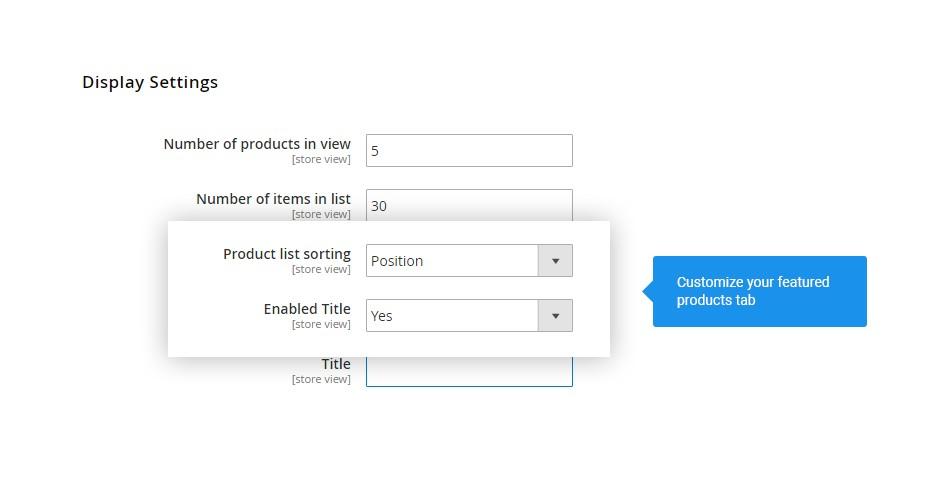 Configurable display settings
