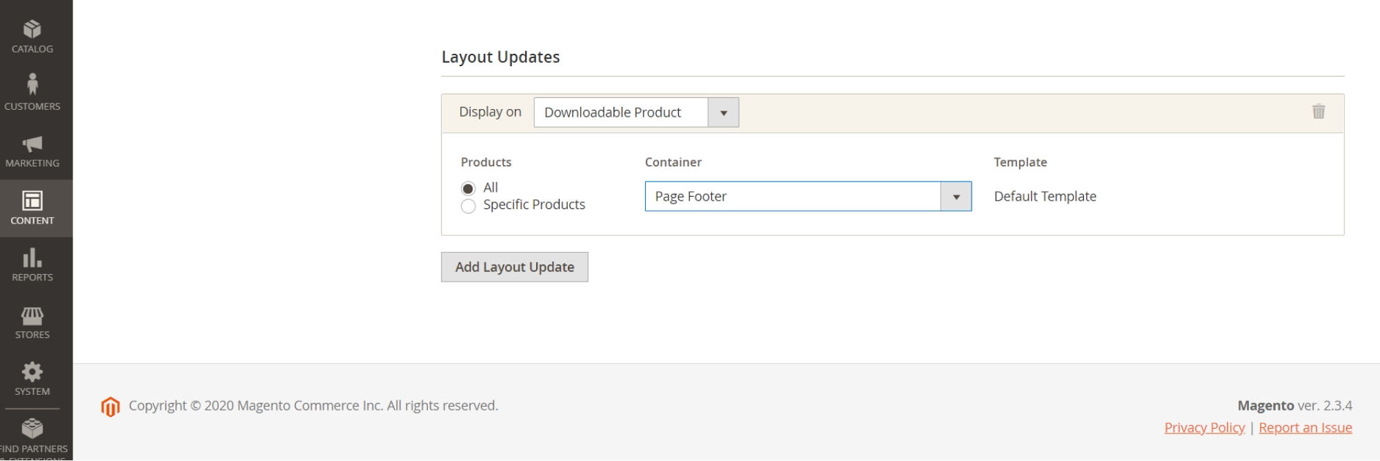 Configure Layout Updates