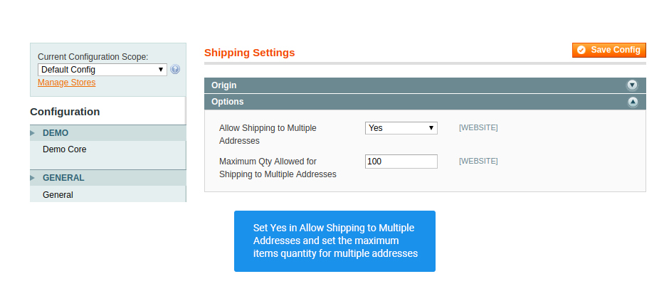 shipping settings for multishipping extension