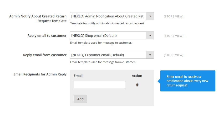 Track down return requests in a convenient way