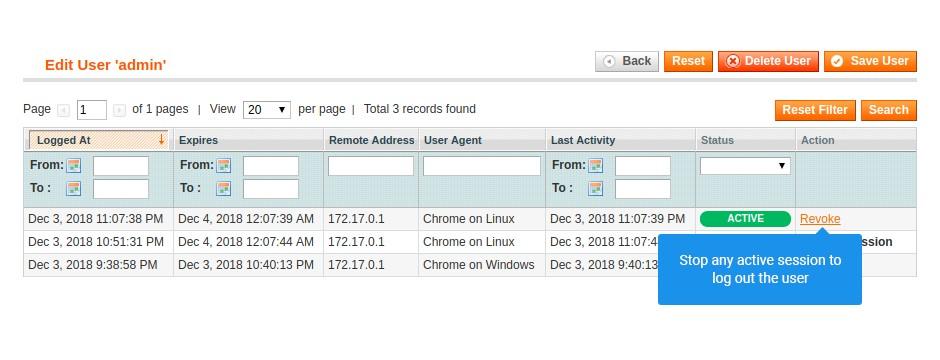 security suite extension edit user