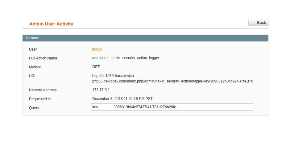 admin activity in security suite