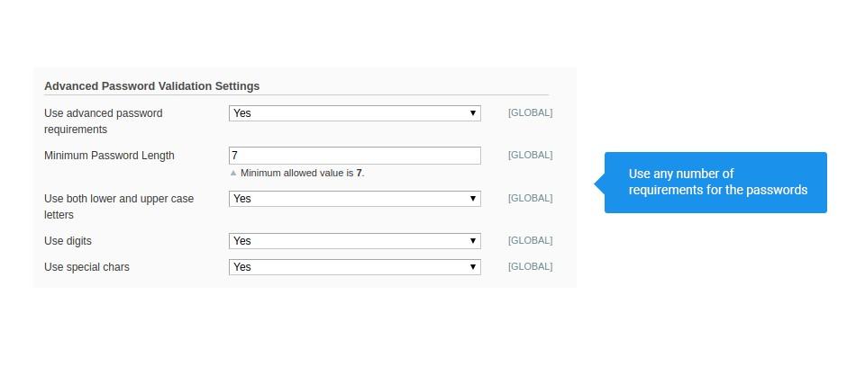 advanced password validation settings