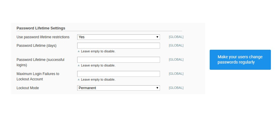 password lifetime settings