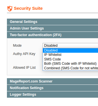 settings in security suite extension