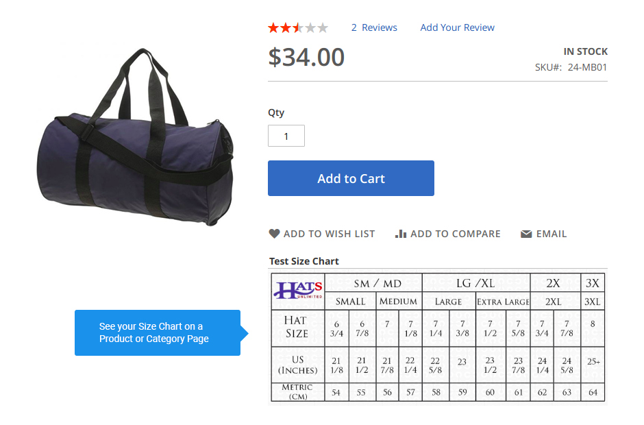 Size Chart block on a Product Page
