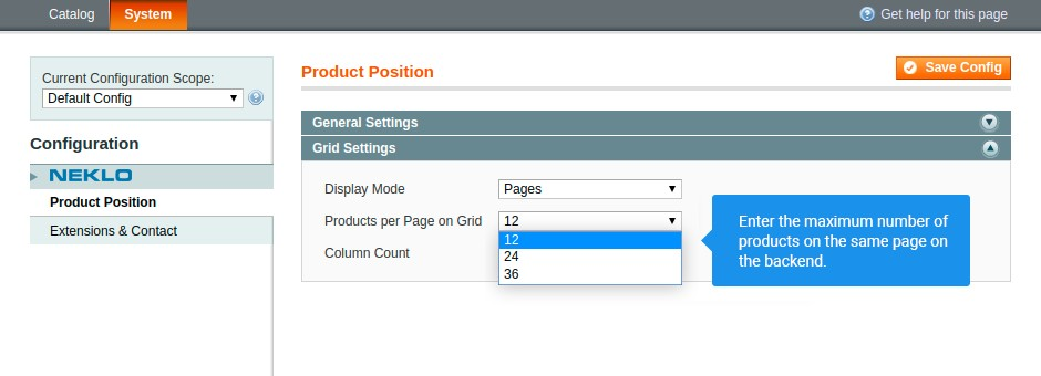 Separate your product range in equal parts by pages